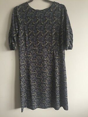 Size 10 maternity blue yellow ditsy floral tea dress, ruched mid sleeves BNWT