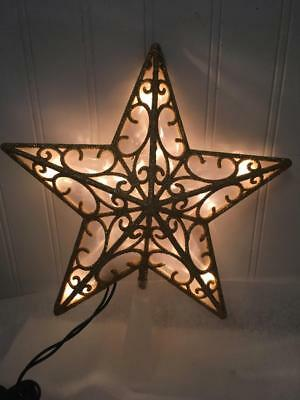 """NIB Holiday Lighted Gold Glitter Tree Topper Star ~ 10 Clear Bulbs ~ 9"""""""