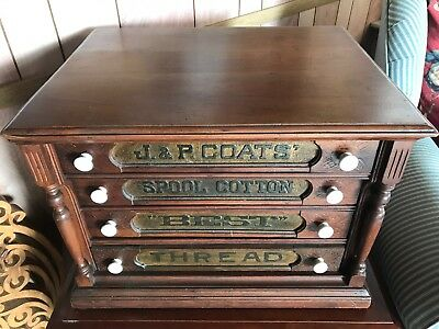 Country Store 4 Drawer Cherry? Spool Cabinet J & P Coats Advertising Back Panel