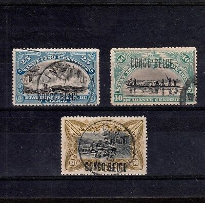 Congo Belge 1909 Selection 25-50 Centimes Stamps All With Local Surcharge Type 7