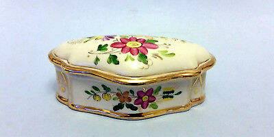 Vintage Russian Hand Painted Gilded Gzhel Porcelain Trinket Box