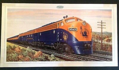 Original 1940s General Motors Jersey Central Railroad Print Poster Ben Dedek EMD