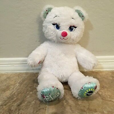 Build A Bear Elsa White Bear Disney Frozen Fever Plush Doll