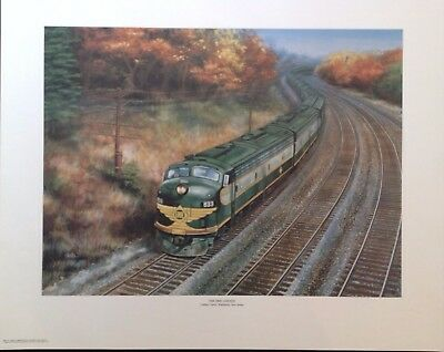 Erie Limited Large Railroad Poster Print Lithograph Streamline Train