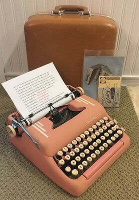 Vintage 1955 Pink Smith Corona Silent Super 5T Series Portable Typewriter & Case