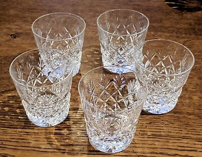 5 heavy cut glass tumblers - whisky, gin etc.