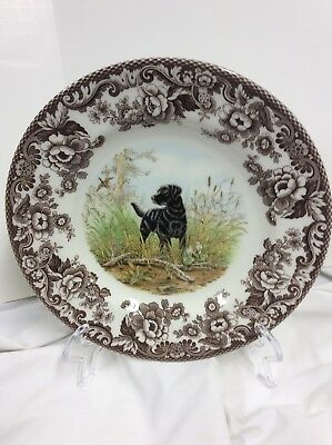 """Spode China """"woodland"""" S3422 Pattern """"black Lab"""" 10 3/4"""" Dinner Plate-Excellent"""