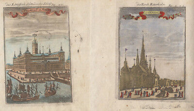 1685 Two Mallet Engravings of Swedish Royal Palaces, Stockholm