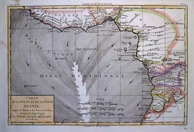 1781 Bonne Map of West Central Africa