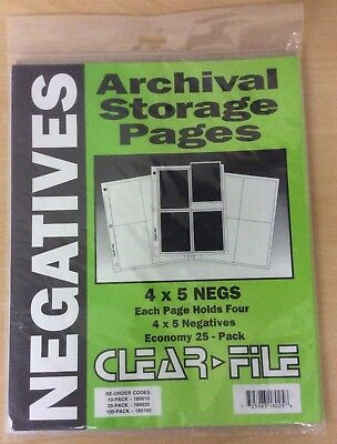 Clear File Archival 4 x 5 Print / Negative Pages x 25 Unopened Pack