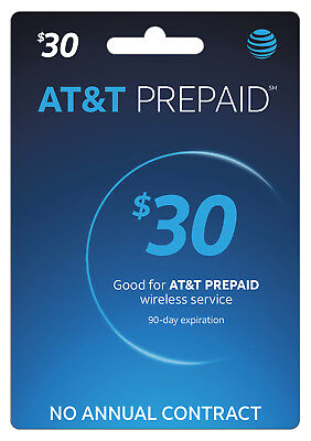$30 AT&T Prepaid Refill Card EBAY DELIVERY(Read Description)