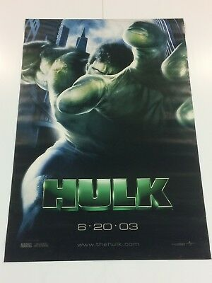 "Original 2003 HULK Double Sided GIANT Theater Lobby POSTER 48"" x 70"" ROLLED"