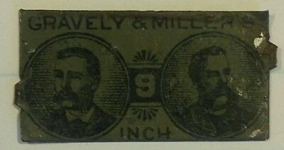"Vintage tin tobacco tag GRAVELY & MILLER'S ""9 INCH"""
