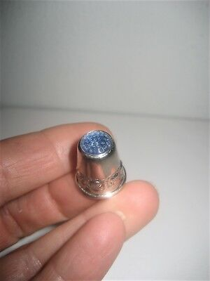 RARE Antique STERLING SILVER THIMBLE marked 830S blue jewel on top German?