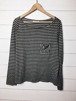 a5edecd9fb35 Michael Stars Womens Grey Striped Long Sleeve Pocket Knit Tee Shirt One  Size EUC