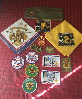 Vintage Boy Scouts lot: Cap, Pins, Patches and Scarves, Iowa Area, 1970's