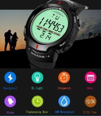 Men Girl Round Military Sports Large Face Waterproof LED Outdoor Digital Watch