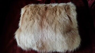 Womens Accessories: Vintage Real Red Fox Fur Muff. Zip Pocket
