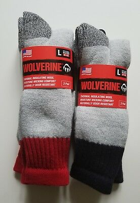 Wolverine 4 pairs Thermal Socks Mens Merino Wool Boot  Sock Insulating Large NEW