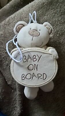 Baby on board sign with teddy bear