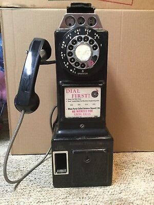 Vintage Automatic Electric Company 3 Slot Coin Payphone Telephone Black Old