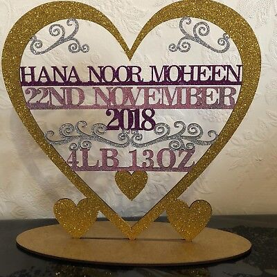 Personalised Baby Birth Gift / Stand / Announcement