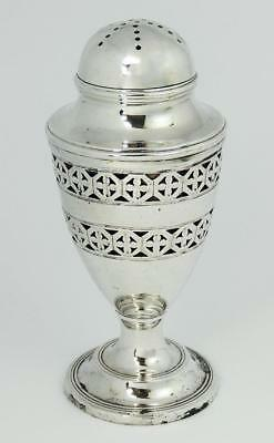 Antique SILVER PLATED PEPPERPOT Pierced Decoration & Blue Glass Liner