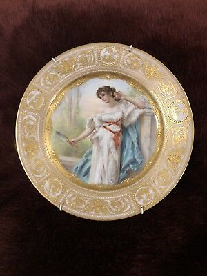 Royel Vienna Antique Plate Gold Edges & Beaded Wagner Signed Lady With Mirror