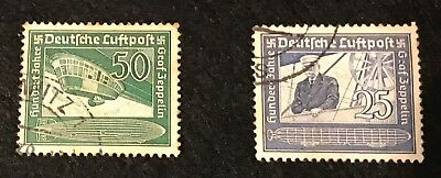 Germany Third Reich 1938 Graf Zeppelin Set Sg657-8 Good Used High Cat