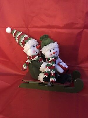 "Plush Snowman On Sled Christmas Decorations 7"" X 8.5"""