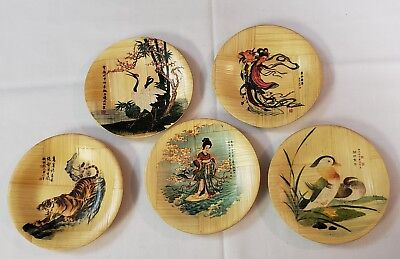 """Vintage Hand Painted Japanese Woven Bamboo Plates Set of 5 - 4 1/4"""" Mid century"""