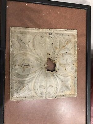 "12"" x 12"" Ornate Antique Tin Ceiling Tile w/ Beige Color, Light Fixture Hole"