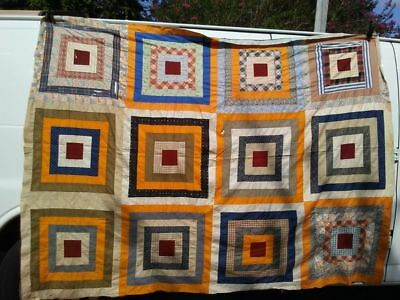 Antique Hand Stitched Colorful Square-Block Quilt Top (Feed-Flower Sack)