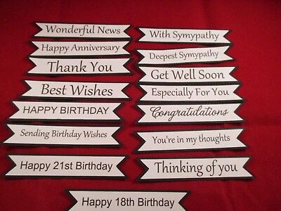15 Printed Mixed Sentiment Banner Die Cuts...........cardmaking