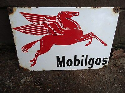 1946 Mobilgas Porcelain Enamel Gas Pump Station Sign