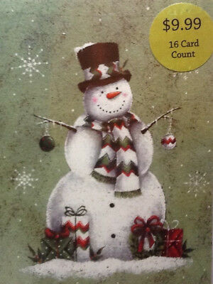 Adorable Snowman all Ready for Christmas NEW 16 Boxed Holiday Cards w/Envelopes