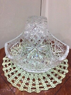 Cut Glass Basket Vase , Good Quality