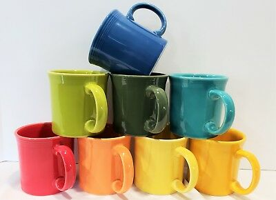 Fiesta Fiestaware, New 2nds, Lot of 8 Java Mugs Coffee Cups, Mixed Color Set