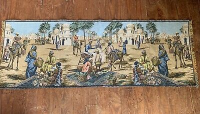 """Vintage Oblong Woven Tapestry 57"""" X 20"""" Great Colors And Design"""