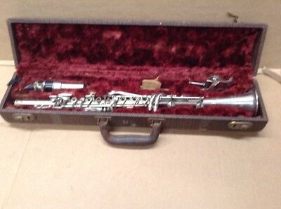 Vintage Leon Aubert Clarinet with Case Silverplate
