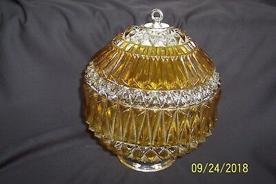MID-CENTURY MODERN Diamond Cut Pressed Glass Yellow & Crystal Ball LIGHT FIXTURE