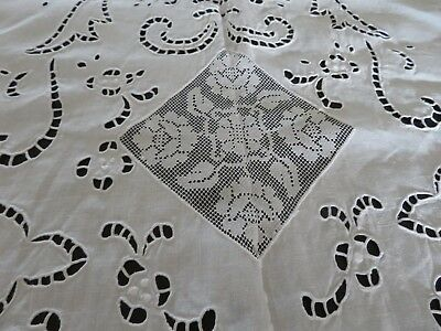 Ornate Antique Madera? Cut Work & Lace Large Tablecloth or Coverlet Snow White