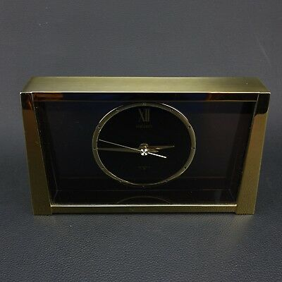 Rare Vintage Seiko Brass and Smoked Glass Mantle Clock Model QQZ187G Japan