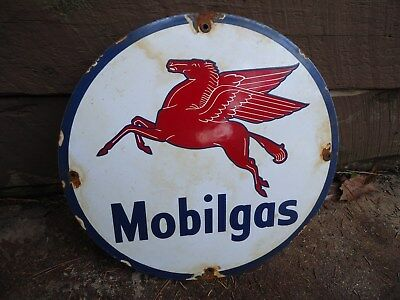1949 Mobilgas Porcelain Enamel Gas Pump Station Sign