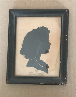 ANTIQUE VINTAGE SILHOUETTE SHADOW PICTURE PORTRAIT Woman Girl