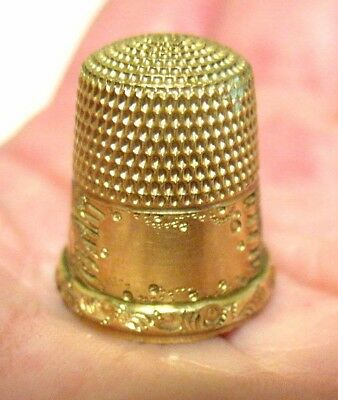Victorian 14K Gold  Thimble Raised Floral Design 4.5 Grams Size 6