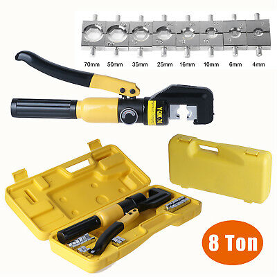 8TON Hydraulic Crimper Plier Battery Cable Wire Crimping Force Tool 4-70mm 8Dies