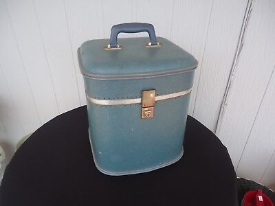 vintage retro luggage case  hat box blue cheney england hobbytex
