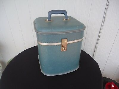 vintage retro luggage case  hat box blue cheney england