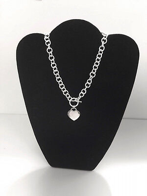 """NEW Solid Silver 15"""" Heart Charm Round Link Chain Toggle Necklace 56 grams Engra"""